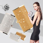 Silver Gold Crystal Diamante Effect Evening Clutch Wedding Party Prom Bag Box image