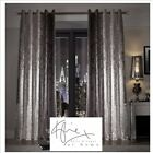 Natala Slate Grey luxury velvet lined Eyelet curtains, by Kylie Minogue