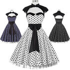 ROCK N ROLL Vintage Bow Knot Black/White 50s Retro Pin Up Swing Dress Plus Size