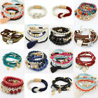 Fashion Women Bangle Cuff Multilayer Bead Leather Charm Heart Bracelet Jewelry