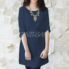 Women Long Sleeve Casual Loose Bule Elegant Lady Cocktail Party Club Midi Dress