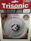 50ft Telephone Double Jack Extension Cord Ivory/White