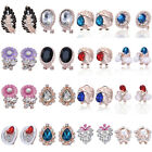 Womens Fashion Gold Silver Plated Crystal Flower Ear Stud Earring Clip Jewelry
