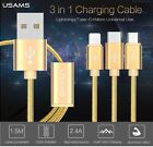 USAMS 1.5m Type C Lightning Micro USB 3in1 Charging Cable For Iphone 6s Macbook