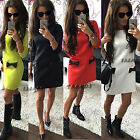 US Women 3/4 Sleeves Slim Dress Ladies Evening Party A Line Dresses