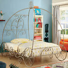Champagne Pink & White Coach Design Intricate Scrollwork Twin Bed Full Bed