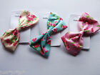 Ditsy Rose Floral Fabric Bow Barrette Hair Clip Pink Cream Blue (443)