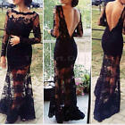 Women Sexy See-through Lace Backless Black Prom Gown Evening Formal Long Dress