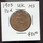 GREAT BRITAIN - FANTASTIC HISTORICAL EDWARD VII 1/2 PENNY, 1903, KM# 793.2