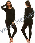 Lades Ex Marks and Spencer 100% Cotton Top Black Long Sleeve Lounge T-Shirt M&S