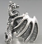 HUGE HEAVY WHOLE BODY DRAGON SNAKE WINGS 925 STERLING SOLID SILVER MENS RING