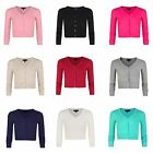 Girls Long Sleeve Cropped Cardigan Kids V-neck Fine Knit Sweater Top 3-14 Years