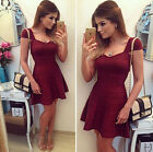 New Womens Casual Summer Short Sleeve Cocktail Evening Party Short Mini Dress