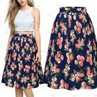 Women's Elegant Floral High Waist Vintage Stretch Pleated Flared Swing Skirt