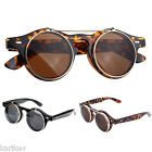 Steampunk Goggles Glasses Round Sunglasses Emo Retro Vintage Flip Up Cyber Goth