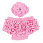 Baby Girl Outfits Clothes Flower Bloomer Diaper Cover Shorts+Headband 0-18 Month