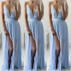 New Deep V Neck Evening Party Cocktail Party Long Chiffon Beach Dress Sundress
