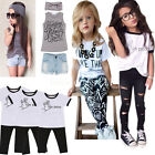 Fashion 3pcs Kids Baby Girls Outfit Headband+T-shirt Tops+Jeans Pants Clothes Se