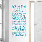 """Beach Rules """"look for seashells, take long walks"""" Vinyl Wall Decal Quote L182"""