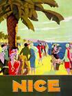 TRAVEL NICE FRANCE RIVIERA BEACH SEA PALM TREE PEOPLE ART PRINT POSTERBB7594B