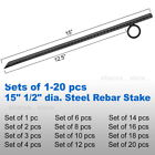 "15"" 1/2"" Steel Rebar Anchor Hard Ground Stake Secure Canopy Tent Tarp Carport"