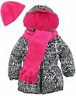 Pink Platinum Little Girls' Zebra Hooded Puffer Jacket Scarf and Hat 3Pc Set