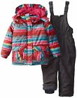 Rugged Bear Little Girls' Snowsuit with Striped Coat Ski Bib Set