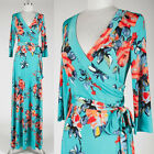 TURQUOISE BLUE Garden FLORAL Faux Wrap MAXI DRESS Jersey LONG Tea Party S M L