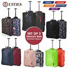 Set of 2 Ryanair & easyJet Trolley Cabin Hand Luggage fits 55x40x20 56x45x25cm