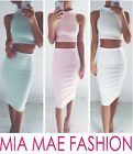 WOMENS HIGH NECK SLEEVELESS TWO PIECE  HIP SKIRT TOP + BOTTOM