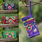 Quality Lined  Embroidered Hippie Boho Ethnic Zip Wallet Purse Clutch Mobile Bag
