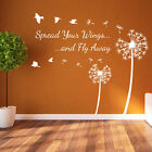 Dandelion Floral Spread Your Wings & Birds Decal Wall Stickers Decor Flower A363