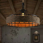 Vintage Industrial Hemp Rope Iron Pendant Ceiling Light Bases Chandeliers 3067U