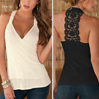 Womens V-Neck Sleeveless Backless Casual Lace Cotton Vest T Shirt Tops Blouse