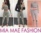 WOMENS GREY FASHION HOLE 2 PIECE TRACKSUIT LONG SLEEVE AND PENCIL PANTS