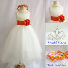 Lovely Ivory/orange tangerine pageant wedding flower girl party dress all sizes
