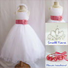 Gorgeous white/coral orange tulle wedding flower girl party dress all sizes