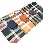 iPhone 5 6 7 8 8 PLUS X Quality Leather Wallet Case Plaid with Credit Card Slots