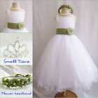 Gorgeous white/sage green satin tulle wedding flower girl party dress all sizes