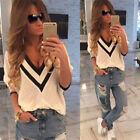 Sexy Women Ladies Casual Loose V Neck Long Sleeve Top Blouse Tee Shirt UK 6-22