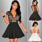 Sexy Womens Casual Backless Lace V-neck Evening Party Cocktail Short Mini Dress