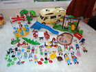 LARGE NUMBER OF PLAYMOBIL PARK PIECES, SANDPIT, SWINGS, BIKES, SANDPIT +CARAVAN