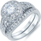 925 Sterling Silver Shiny Clear CZ Engagement Wedding 2 in 1 Set Ring Size 3-11