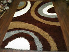 MODERN BROWN/TEAL/CREAM SHAGGY RUGS TOP QUALITY 160X230CM APROX 8X5  CLEAN EASY