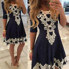 Women Casual Lace Long Sleeve Party Evening Cocktail Short Mini Dress Size S-XL