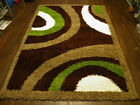 EXTRA THICK SHAGGY RUG GREEN/BROWN/BEIGES LARGE APP(8X5) WOVEN  TOP QUALITY