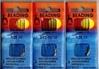 Needles Pony Beading  Size 10 & 12,   1  Pack Of 6 Needles