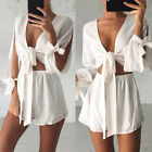 2Pcs Set Summer Womens Tops+Shorts White Dress Suit Tied Up Blouse T-shirt Pants
