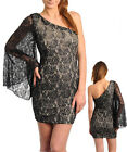 Women Asymmetrical Cocktail Lace Bodycon Race Dress Size 10 12 NEW