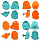 4 Star Wars Darth Vader Yoda Chewbacca C-3PO Fondant Mold Plunger Cookie Cutters